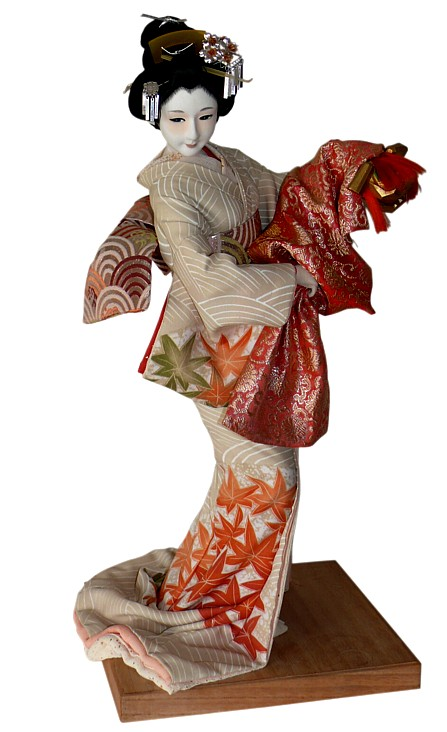 Japanese Antique Silk Faced Doll With Mask Japanese