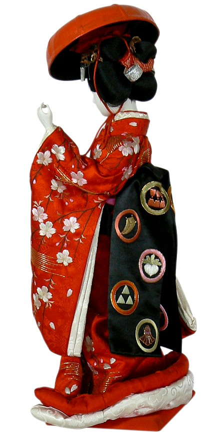Japanese Antique Doll Of A Maiko Dancing With Small Drum