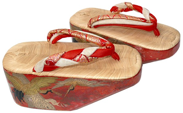 Japanese Maiko's antique wooden shoes POKKURI with bells. Japanese