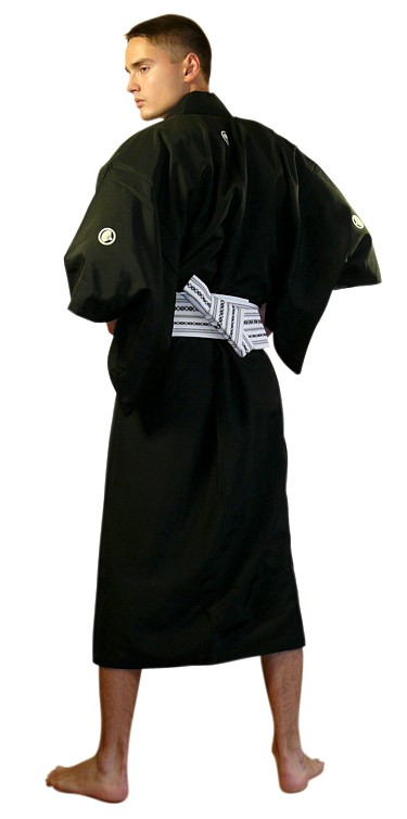 Japanese Antique Black Silk Kimono With Samurai Crest