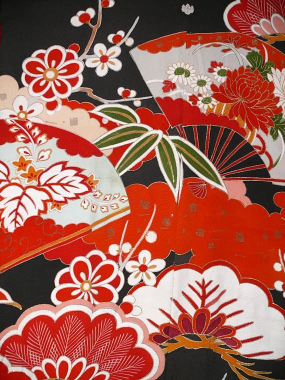 Japanese Wedding Antique Silk Kimono Garment Traditional Clothes